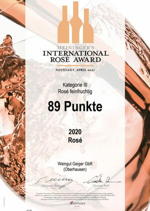 89 PUNKTE BEI MEININGER'S INTERNATIONAL ROSÉ AWARD 2021